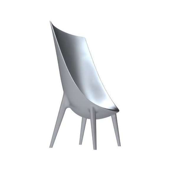 Driade Out-in High Backrest Armchair Lacquered silver