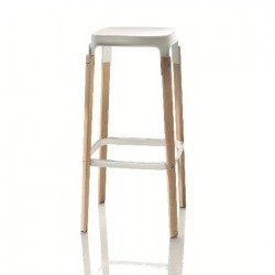 Magis Steelwood Stool Beech frame white seat