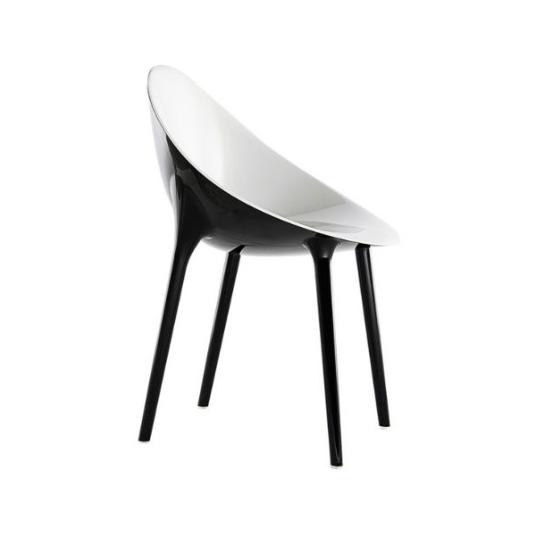 Kartell Super Impossible Chair solid Solid white seat black frame