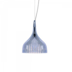 Kartell E Hanging Lamp Tranparent Blue
