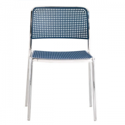 Kartell Audrey Polished Aluminium Frame Chair L7 Polished - Blue