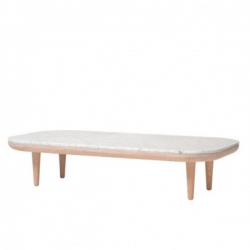 &Tradition Fly Rectangular Table White Oiled Oak white pigmented oil. Honed Bianco Carrara marble