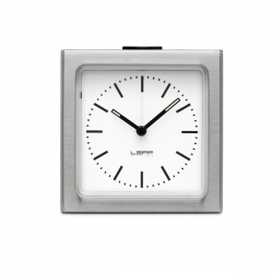 Leff Block Clock Steel White Index