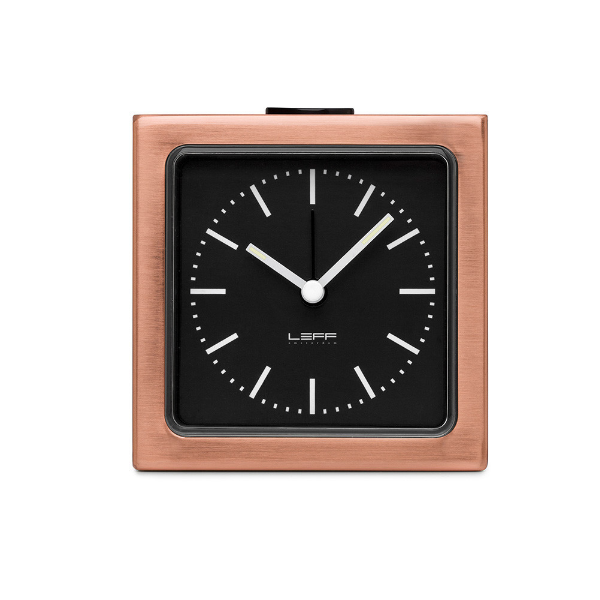 Leff Block Clock Copper