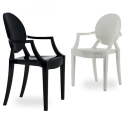 Kartell Louis Ghost Chair Glossy White and Black