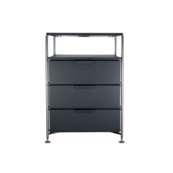 Kartell Mobil 3 Drawers and Shelf Opaque Slate (not transparent)