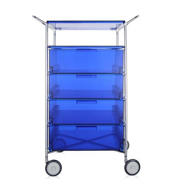 Kartell Mobil, Shelf and Handles Transparent Blue