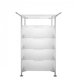 Kartell Mobil, Shelf and Handles Opaque Ice