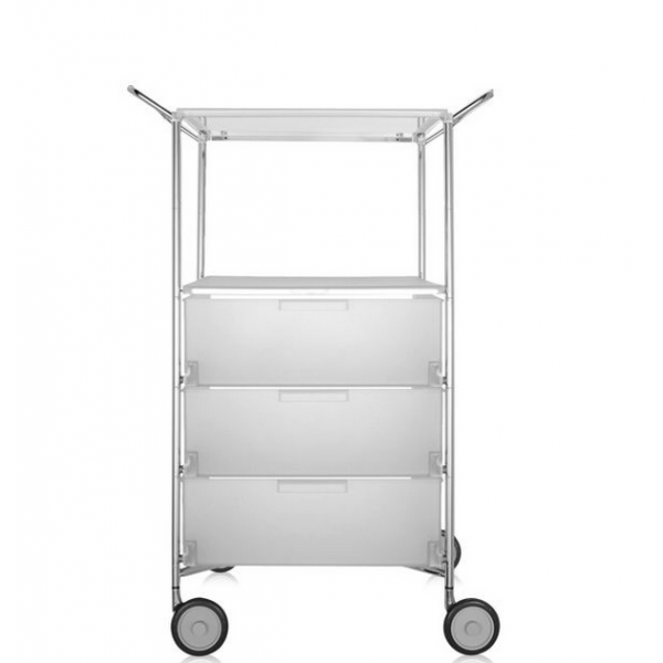Kartell Mobil 3 Drawers, Shelf and Handles Opaque Ice