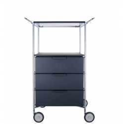 Kartell Mobil 3 Drawers, Shelf and Handles Opaque Slate (not transparent)