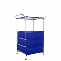 Kartell Mobil 3 Drawers, Shelf and Handles Opaque Cobalt blue