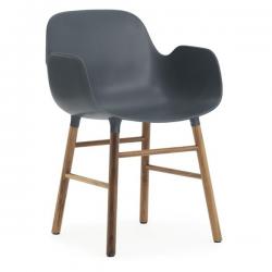 Normann Copenhagen Form Armchair Walnut Legs Blue