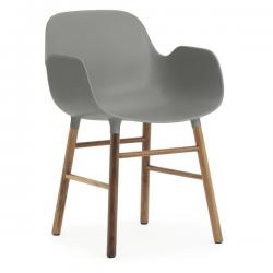 Normann Copenhagen Form Armchair Walnut Legs Grey