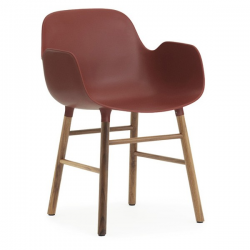 Normann Copenhagen Form Armchair Walnut Legs Red