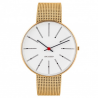 Arne Jacobsen Bankers Watch white Dial, Gold Mesh