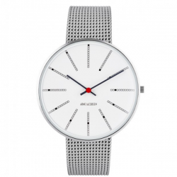 Arne Jacobsen Bankers White Dial, Silver Mesh 40mm