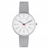 Arne Jacobsen Bankers White Dial, Silver Mesh 34mm