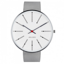 Arne Jacobsen Bankers White Dial, Silver Mesh 46mm