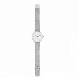 Arne Jacobsen Bankers White Dial, Silver Mesh