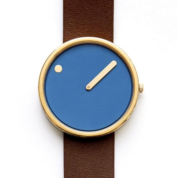 Rosendahl Picto Dusty Blue Dial Dark Brown Leather Strap Watch