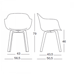 Magis Substance Armchair Wooden Legs