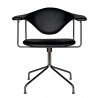 Gubi Masculo Lounge Swivel Chair Black Frame/Black Leather