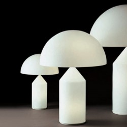 Oluce Atollo Opal Glass Table Lamps