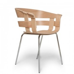 Design House Wick ChairOak Seat,Chrome legs