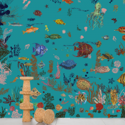 Domestic Sous la mer - blue Wallpaper