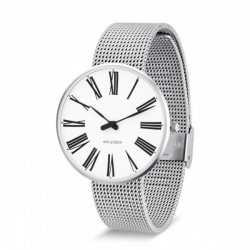 Arne Jacobsen Roman Watch White Dial, Steel Mesh