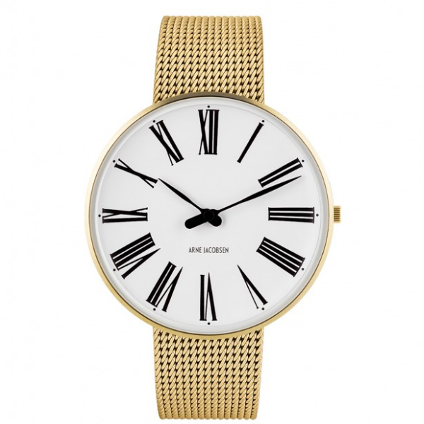Arne Jacobsen Roman Watch white Dial, Gold Mesh