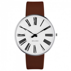 Arne Jacobsen Roman Watch White Dial, Brown Strap