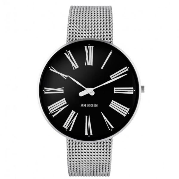 Arne Jacobsen Station Watch Black Dial, Silver Mesh