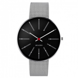 Arne Jacobsen Bankers Watch Black Dial, Silver Mesh