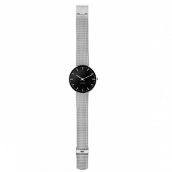 Arne Jacobsen City Hall Watch Black Dial, Silver Mesh