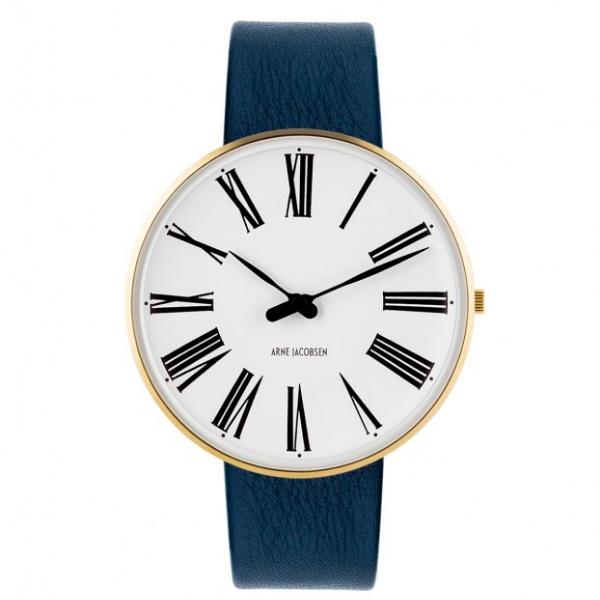Arne Jacobsen Roman Watch White Dial, Gold Case, Blue Leather