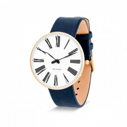 Arne Jacobsen Roman Watch White Dial, Gold Case, Blue Leather