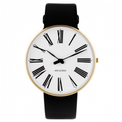 Arne Jacobsen Roman Watch White Dial, Gold Case, Black Leather