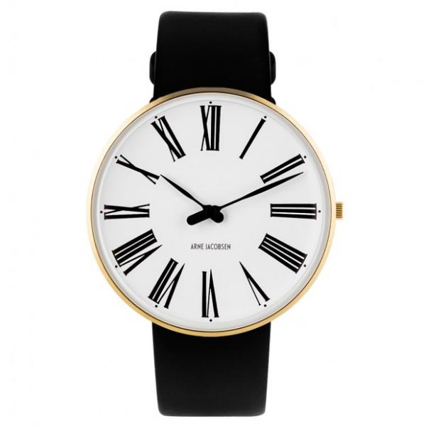 Arne Jacobsen Roman Watch White Dial, Gold Case, Black Leather