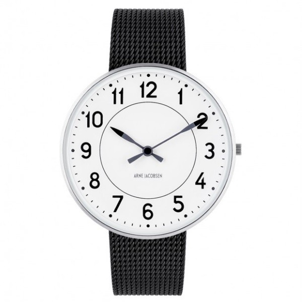 Arne Jacobsen Station Watch White Dial, Black Mesh
