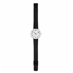 Arne Jacobsen Station Watch White Dial, Black Mesh, 34cm