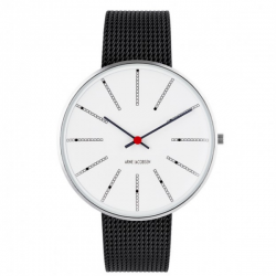 Arne Jacobsen Bankers Watch White Dial, Black Mesh