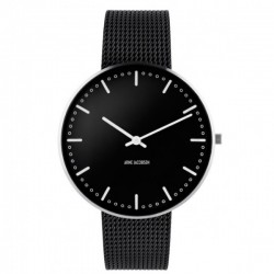 Arne Jacobsen City Hall Watch Black, Black Mesh