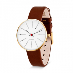 Arne Jacobsen Bankers Watch White Dial, Brown Leather
