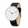 Arne Jacobsen Bankers Watch White Dial, Gold Case Black Leather