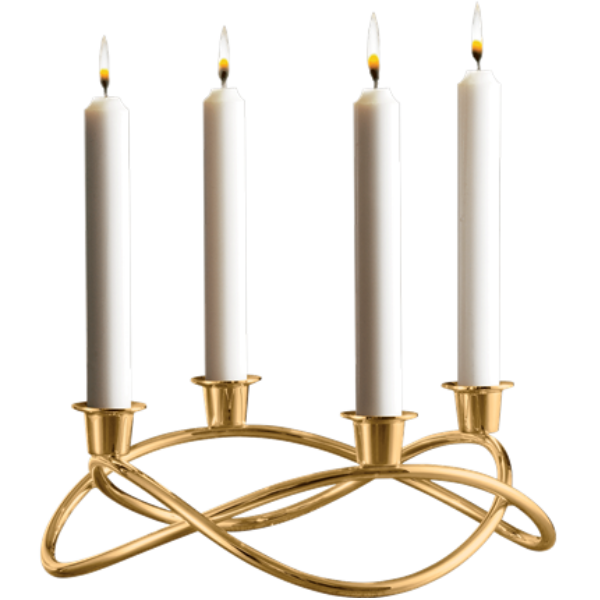 Georg Jensen Season Candle Holder Mirror Gold Plated