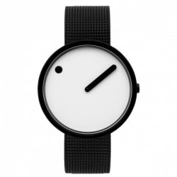 Picto  Watch White Black Mesh