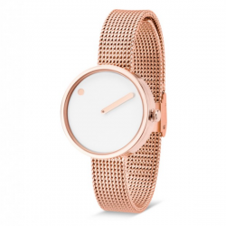 Picto Watch White, Rose Gold Mesh
