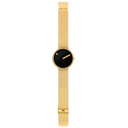Picto Watch Black, Polished Gold Mesh
