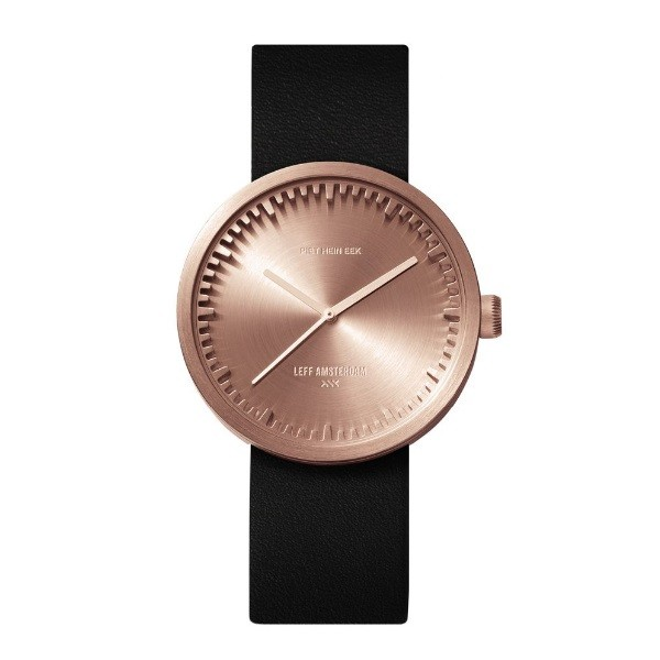 LEFF amsterdam Tube Watch D38 – rose gold with black leather strap